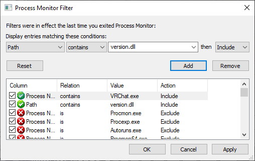Filter for VRChat.exe and Path containing version.dll